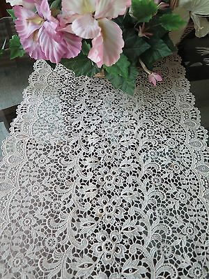 Vintage Schiffli Lace Table Runner Light Beige