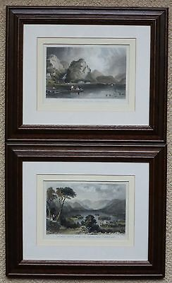 Two framed antique prints of Castle Crag and Derwentwater