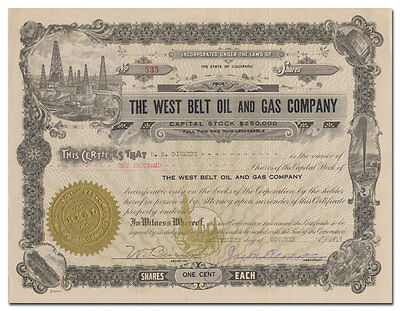 West Belt Oil and Gas Company Stock Certificate (Colorado)