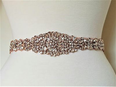 "Wedding Dress Sash Belt -  Rose Gold Crystal SASH BELT = 16 3/4"" long"