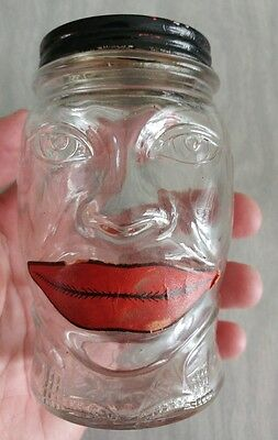"Vintage Mustard Glass Jar Bank- Nash's ""Lucky Joe"" with Paper Lips - Americana"