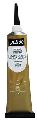 Pebeo 37 ml Vitrail Stained Glass Effect Cerne Relief Tube with Nozzle , Gold
