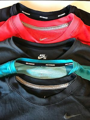 Lot of 5 Nike shirts Dri Fit Running SB size LARGE long sleeve and 3/4 sleeve