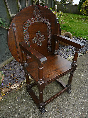 Carved Oak Monks Bench Chair Fold Over Table Top Wainscot Elbow Chair