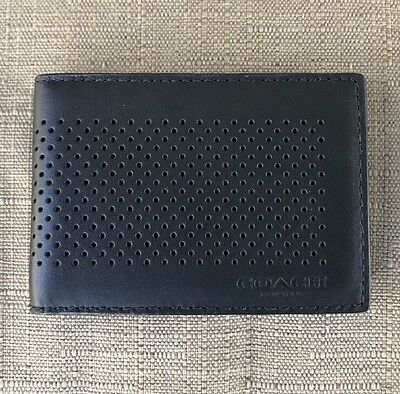 New Coach Men's Perforated Leather Slim Card Case/holder Id Window Slot