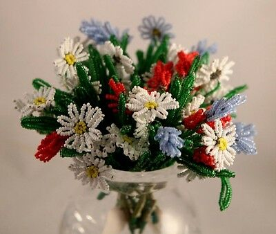 French Hand Beaded Glass Seed Bead Flowers 9 Small Stems France