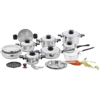 """Chef's Secret® 28pc 12-Element T304 Stainless Steel """"Waterless"""" Cookware"""