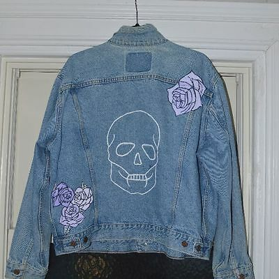 Custom Painted Skull Denim Jacket