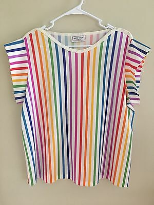 Vintage Retro Rainbow Striped Shirt Top Womens Large L