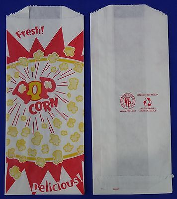 "Popcorn 1 oz Snack Paper Bags 3.5"" x 2"" x 8"" Concession Machine supplies"