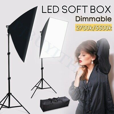 Photo Studio Softbox LED Dimmable Lighting Continuous Soft Box Light Stand Kit