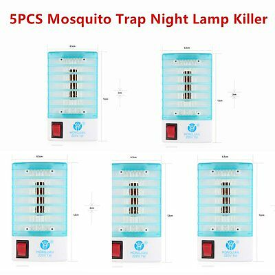 5xEU LED Socket Electric Mosquito Fly Bug Insect Trap Night Lamp Killer Zapper~^