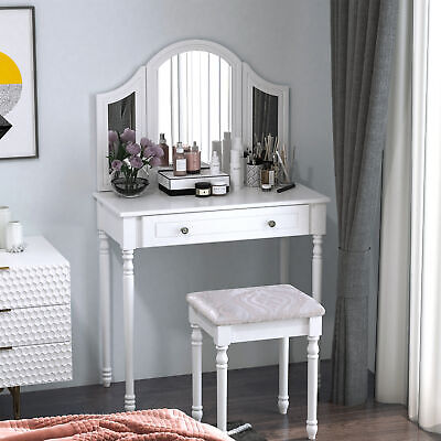 HomCom Luxury Wooden Vanity Dressing Table Set Make-up Furniture with 3 Mirrors