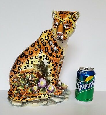 "Large Ceramic LEOPARD Figurine Big Spotted Wild Cat Handpainted 12"" Tall EUC"