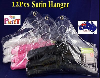 12 Clothes Coat Hanger Hangers Assorted Colored Satin Fabric cover Padded New