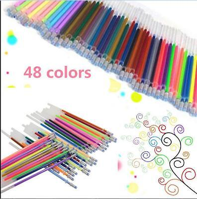 48 Colors Gel Pens Glitter Coloring Drawing Painting Craft Markers Stationery CA