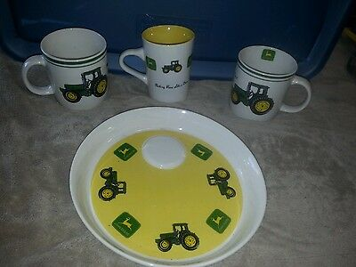 L@@k John Deere Platter And 3 Coffee Cup Set Gibson Housewears Kitchen Set