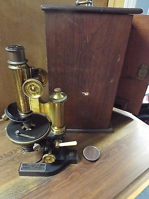 Antique Bausch & Lomb Microscope Brass Vulcanized Base Wood Box Elmer & Ahmend