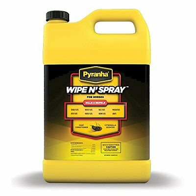 PYRANHA 001GWIPEG 068022 Wipe N'Spray Fly Protection Spray for Horses, 1 gallon
