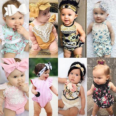Floral Kids Baby Girl Romper Bodysuit Jumpsuit Playsuit Outfits Sunsuit US Stock