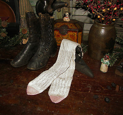 Old Tyme Antique Vtg 1800's Victorian Lady Girl's Cotton Knitted Stockings