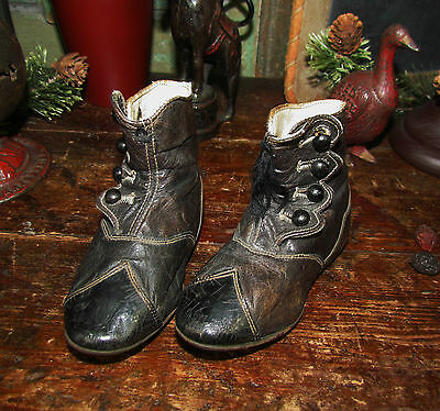 Old Tyme Antique Vtg 1800's VICTORIAN CUT LEATHER BUTTON BOOTS Baby Child SHOES