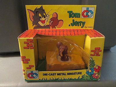 1983 Cb Toys Tom & Jerry Die-Cast Metal Miniature Jerry In Cheese Car Mib Italy