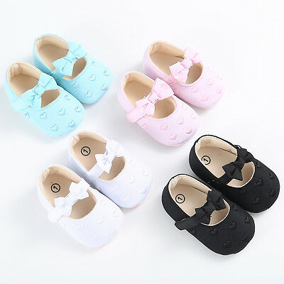 USA Pretty Infant Baby Girl Heart-shaped Shoes Party Anti Slip Crib Soft Shoes