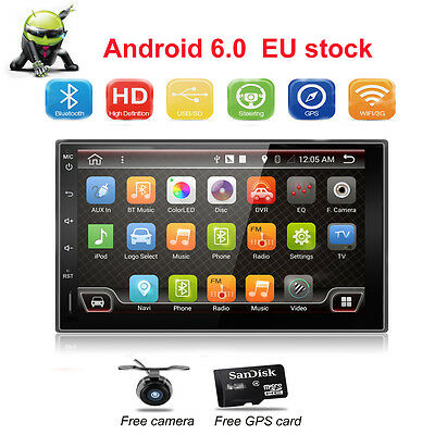 Double 2 DIN Stereo Car Radio Touch Screen GPS Sat Nav In-Dash AUX WIFI no DVD