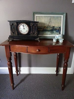 Antique Cedar Hall Table Desk Bedside Table bow front & drawer