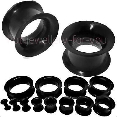 2 x BLACK SILICONE FLESH TUNNEL SOFT DOUBLE FLARED EAR PLUG STRETCHER PAIR