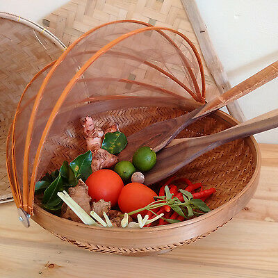 Bamboo Basket with Foldable Cover Ideal as a fruit basket or decorations