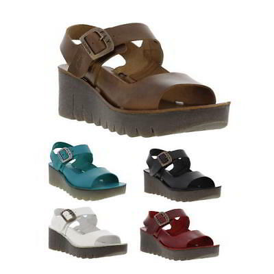 c5aa71cf599868 FLY LONDON YAIL Womens Leather Wedge Sandals Size 4-8 -  85.30 ...