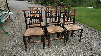 Set of 6 spindle-back 'ear' chairs, 1800-1840