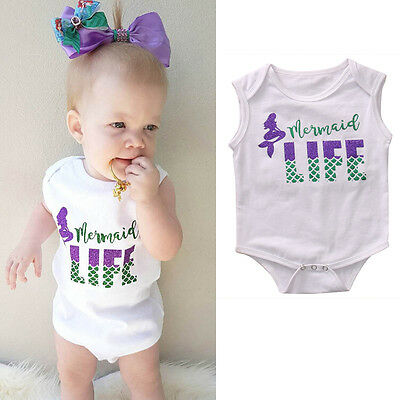 USA Newborn Baby Girl Romper Infant Mermaid Bodysuit Playsuit Outfits Clothes