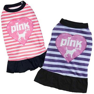 1x Printed Pink Dog Vest Pet Puppy Cat T-Shirt Summer Clothes Skirt Apparel Cool