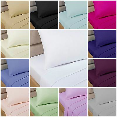 Percale Easycare Polycotton Bed Sheets - Flat, Fitted, Valance - 17 x Colours
