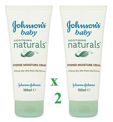 2 x Johnsons Baby Soothing Naturals Intense Moisture Cream 100ml Each