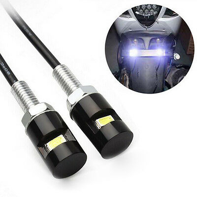12V White LED SMD Motorcycle&Car License Plate Screw Bolt Light lamp bulb 2pcs