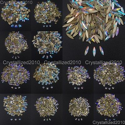 Top Crystal AB Czech Crystal Rhinestone Flatback Nail Art Decoration Small Shape