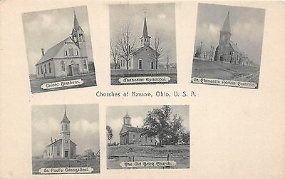 C46/ Navarre Ohio Postcard c1910 5View Churches of Navarre Old Brick Church