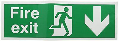 """SIGNSLAB E100A/S Safety Sign """"Fire Exit Running Man Arrow - Down"""", Self-Adhesive"""