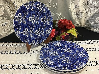 """3 James Kent """"Louis 14th""""  """"White on Blue Flowers"""" Chinz Dinner Plates 9 3/4"""""""
