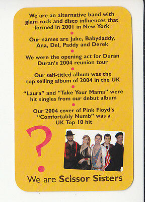 SCISSOR SISTERS Pop 1980s Band Group 2006 QUIZ GAME TRIVIA PHOTO CARD