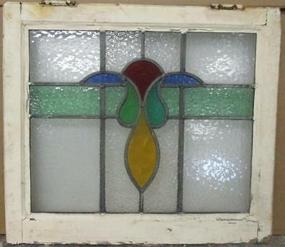 """OLD ENGLISH LEADED STAINED GLASS WINDOW Pretty Abstract 21.5"""" x 18.75"""""""