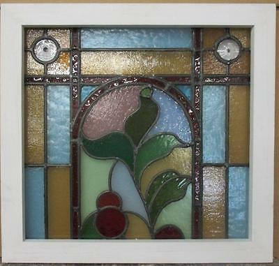 "VICTORIAN ENGLISH LEADED STAINED GLASS WINDOW Floral 23.5"" x 22.5"""