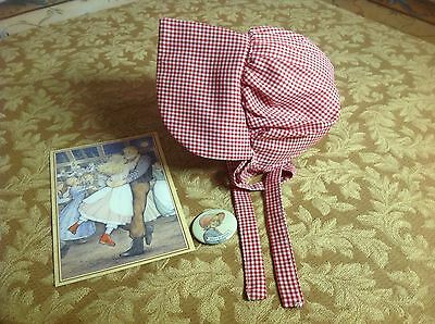 Authentic American Girl Doll Clothes KIRSTEN'S MEET BONNET,POSTCARD & LAPEL PIN