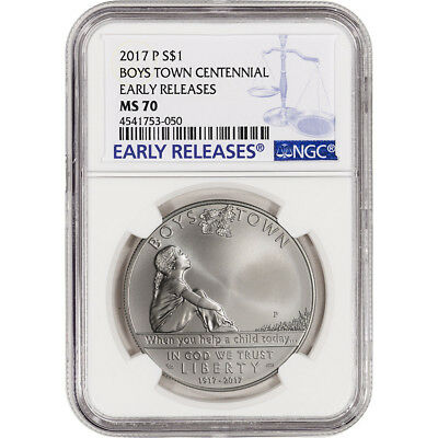 2017-P US Boys Town Commemorative BU Silver Dollar - NGC MS70 Early Releases