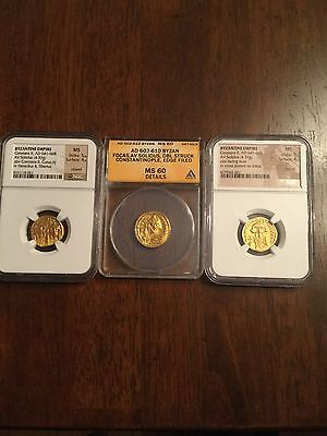 3 GOLD SOLIDUS COIN BYZANTINE MS MINT LUSTER NGC ANACS CONSTANS ll FOCAS 5/5 4/5