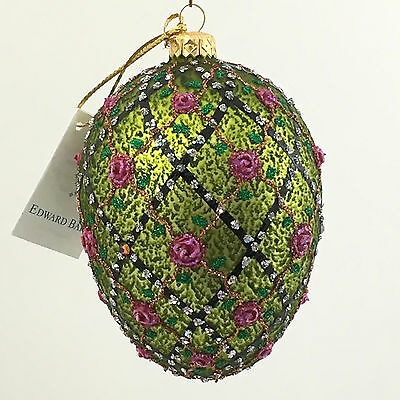 Olive egg-ROSES ON THE TRELLIS- glass Christmas ornament Hand-made in Poland